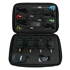 Set 4 Fishing Wireless dropback LED Carp Bite Alarms + Receiver + case Black