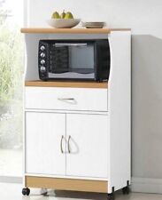 Microwave Cart With Doors Storage Hutch Stand Cabinet On Wheels White Kitchen