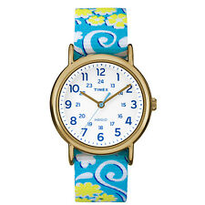 "Timex TW2P90100, Women's ""Weekender"" Floral Fabric Watch, Indiglo, TW2P901009J"