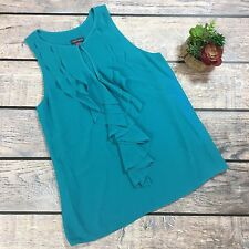 Vince Camuto Turquoise Sleeveless Halter Ruffle Blouse | Size Small
