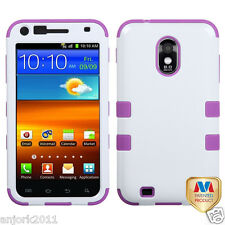 Samsung Galaxy S2 4G Sprint Boost T Armor Hybrid Case Skin Cover White Purple