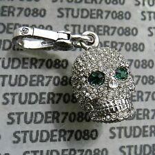JUICY COUTURE Authentic SILVER & GREEN Rare Pave Retired SKULL CHARM  New in Box