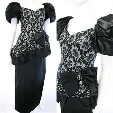 Vtg black silver balloon lace prom formal dress gown M costume wedding