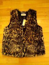 MICHAEL KORS Womens Sleeveless Animal Print Faux Fur JACKET VEST Sz M