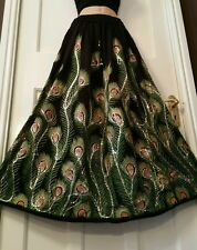 Boho Hippie Long Sequin Rayon Black&Green Peacock design festival Party skirt