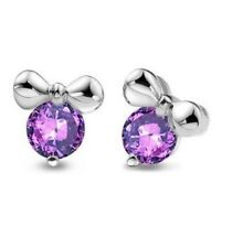 Sterling Silver Mickey Mouse Amethyst Cubic Zirconia Stud Earrings Gift Box C5