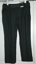 NEW Sz 10 Black Peg leg angle grazer straight Trousers with double buckle belt