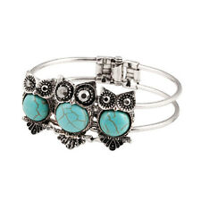 New Classic Fashion Vintage Silver Plated Owl Turquoise Bangle Bracelet Gift