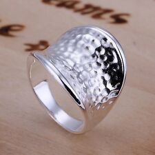 New Women 925 Sterling Silver Plated Fashion Wide Thumb Band Solid Ring Jewelry