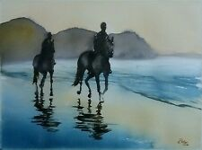' Horse riding on the beach ' - Original watercolour painting