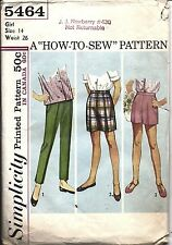 Simplicity Vintage Sewing Pattern 1960's Girls Pants Shorts How to Sew 14 5464
