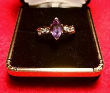 GORGEOUS GOLD VERMEIL STERLING SILVER MARQUISE AMETHYST & 6 CZ RING!! SIZE 8.75
