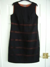LAURA ASHLEY BLACK & TERRACOTTA LINEN SHIFT DRESS 12 KNEE LENGTH SMART WORK WEAR