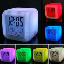 Cube Digital LED Clock Colors Change Alarm Date Time Thermometer 7 Colors
