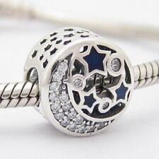 NIGHT MOON with STARS CHARM Bead Sterling Silver .925 For European Bracelet 544