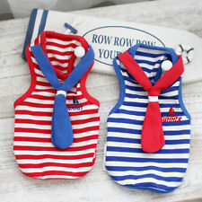 Red S Summer Cute Dog Striped Clothes T shirt XS-XL Red Blue For Small Dog Vest
