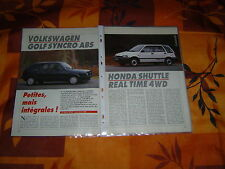 COMPARATIF ... VOLKSWAGEN GOLF SYNCRO ABS contre HONDA SHUTTLE REAL TIME 4WD