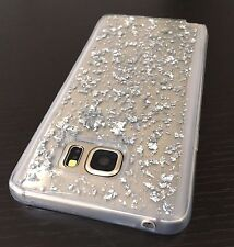 For Samsung Galaxy Note 5 - HARD TPU RUBBER CASE COVER CLEAR SILVER SPARKLE FOIL