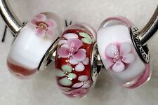 3X Authentic Pandora 925 ale  silver beads  charm cherry blossom garden flower