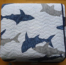 Boat House SHARKS Fish FULL QUEEN QUILT Kids BLUE GRAY Nautical Ocean COTTON new