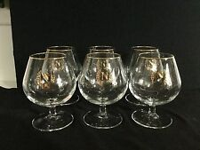 French Napoleon Brandy Glasses (6) Gold Rim,N & Leaves Gilded