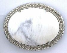 White Howlite Oval Gemstone Gem Cab Cabochon Silver Plated Pin Brooche ebs5803