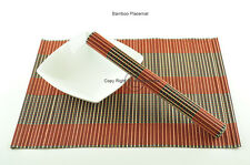 4 Handmade Bamboo Wood Placemats Table Mats, Red-Black, P073