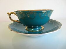 ROYAL Sealy TEA CUP & SAUCER BLUE Teal TEACUP Fruit w/ Gold Fine Japanese China