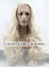 Long Wavy Platinum Blonde Synthetic Hair Lace Front Wig For Women Heat Resistant