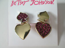 NWT Auth Betsey Johnson Casino Royale Pink Goldtone Heart Spade Earrings