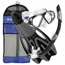 Adult Snorkel Mask Set Snorkeling Swim Fins Gear Bag BLACK Size 8-9.5