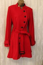 Asos Fit Flare Wool Rich Skater Belt Military Red Long Coat 14 42