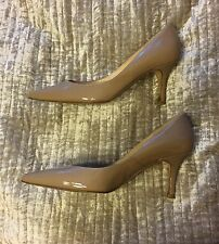 LK BENNETT beige nude patent leather pointy toe kitten heels 36 UK3
