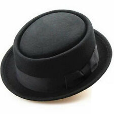 Black Cotton Felt Crushable Porkpie Weinlese-runde Short Brim Fedora Hut