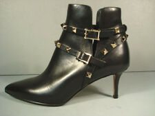 Valentino Black Leather Gold Rock Stud Ankle Boot Bootie Shoe Med Heel 37.5 New