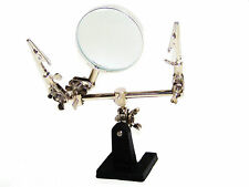 Helping Hand Magnifier Glass and 2 alligator Clamps Jewelry Watch Repair Tool