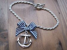 SILVER ANCHOR BOW SP Bracelet ROCKABILLY NAUTICAL Navy Blue Stripe Sailor Jerry
