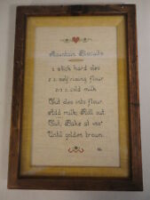 "Hand Made Mountain Biscuits Recipe Cross Stitch Shadow Framed Sampler (10""X 14"")"