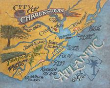 Charleston  SC retro map Print art decor  vintage style  South  Carolina kiawah
