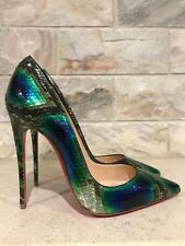 NIB Christian Louboutin So Kate 120 Blue Green Python Snake Pump Heel 38 $1395