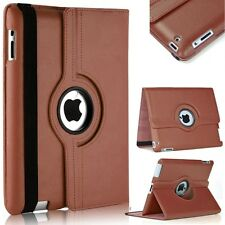 360 Degree Rotation Smart Leather Stand Case Cover For Apple iPad 2 3 4 - Brown