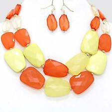 Chunky Bib Yellow Bead Gold Chain Necklace Earring Set Fashion Costume Jewelry