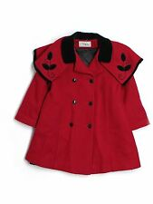 Girl Skyline Red Black Wool  Holiday Winter Church Dress Coat Size 6