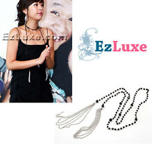 Korean drama High Kick Shin Ji Long Bead Chain Tassle Necklace knot beaded line
