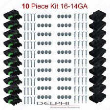 Delphi Weather Pack 4 Pin Sealed Connector Kit 16-14 GA !!!10 COMPLETE KITS!!