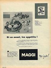 PUBLICITE ADVERTISING 035  1955 MAGGI  bouillon de boeuf au vermicelle