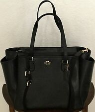 COACH Leather Multifunction Diaper Baby Bag Tote Handbag F35702 Black NWT