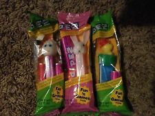 LOT OF 3 RETIRED 1990's PEZ EASTER DISPENSERS NIP NEW CELLO BAG LAMB BUNNY CHICK