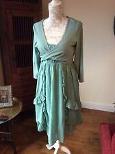 Bnwt Braintree Boho Hippie Layered Dress Green/leaf Organic Cotton Medium