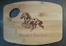 Personalized Horse Cowgirl Kitchen Bamboo Cutting Board Christmas Bithday Gift